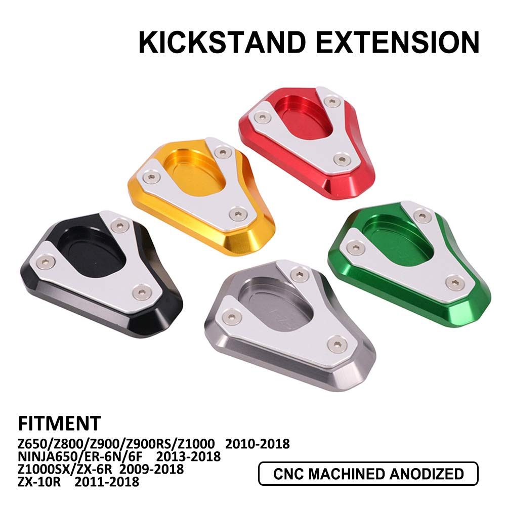YSMOTO Motorcycle Kickstand Foot Pads CNC Side Stand Extension Pad Support Plate For Kawasaki KZ6500//Z800//Z900//Z900RS//Z1000 2010-2018 NINJA650//ER-6N//6F 2013-2018 Z1000SX//ZX-6R 2009-2018-Black