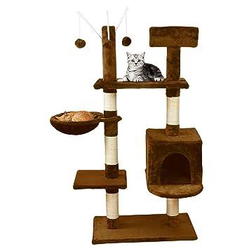 MC Star Árbol para Gato con Rascador Hamaca Bolas de Juego Arañazo Plataforma Sisal Natural 131m, Marrón: Amazon.es: Productos para mascotas