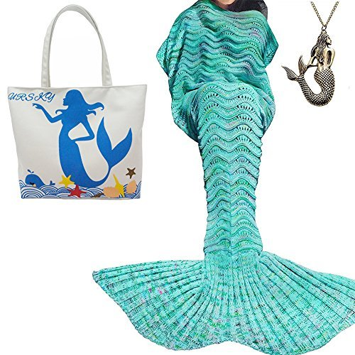 URSKY Crochet Knitted Sofa Living Room Mermaid Tail Blanket, Cozy and Soft All Season Mermaid Tail Pattern Throw Sleeping Bag For Adult, Teens and Child,71x35.5 Wave Blue New by URSKY