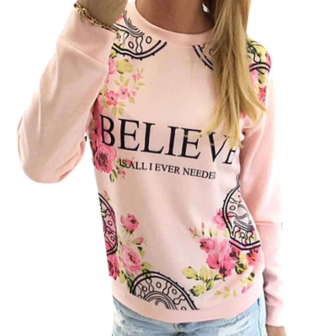 New Womens Long Sleeve T-Shirt Floral Letter Print Jumper Pullover Tops Blouse WINSON