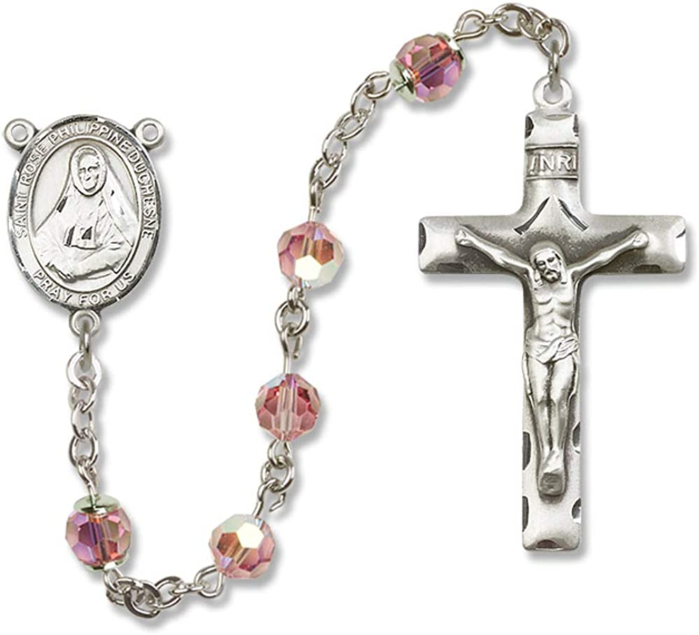 Rose Philippine Center. 6mm Swarovski All Sterling Silver Rosary with Light Rose St Austrian Tin Cut Aurora Borealis Beads