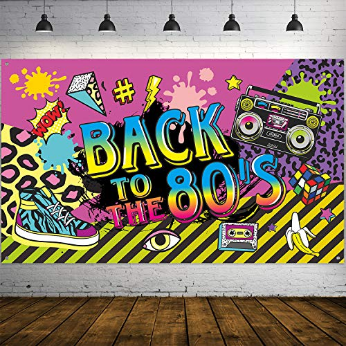 80's Party Decorations, Extra Large Fabric Back to The 80's Hip Hop Sign Party Banner Photo Booth Backdrop Background Wall Decorating Kit for 80's Party Supplies, 70.8 x 43.3 ()