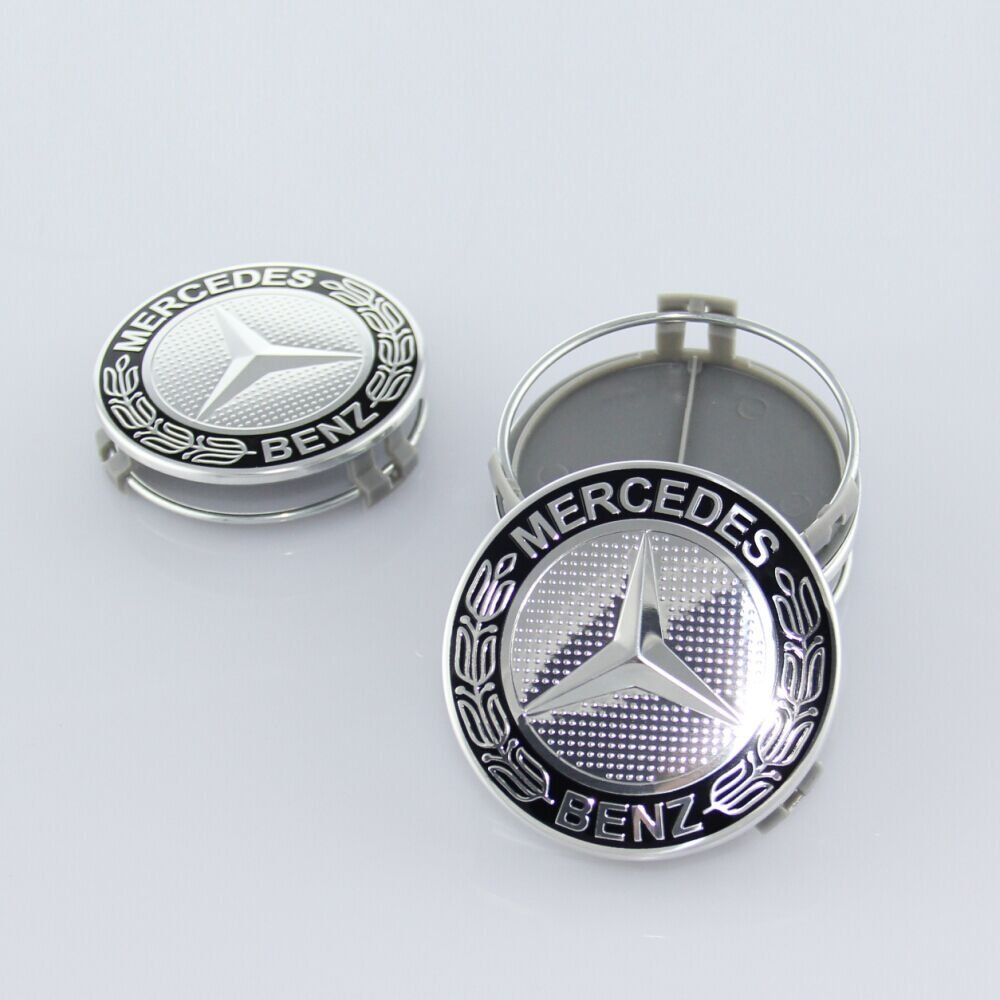 ZZHF1 Wheel Center Caps For Mercedes Benz 75mm - Wreath Cover Chrome Emblem (4Pcs) (Black) by ZZHF1 (Image #4)