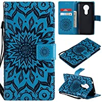 A-slim Moto G6 Play Case,Moto G6 Forge Case,Moto E5 Case,Wallet Case,PU Leather Case Sun Flower Pattern Embossed Purse with Kickstand Flip Cover Card Holders Hand Strap for Moto G6 Play