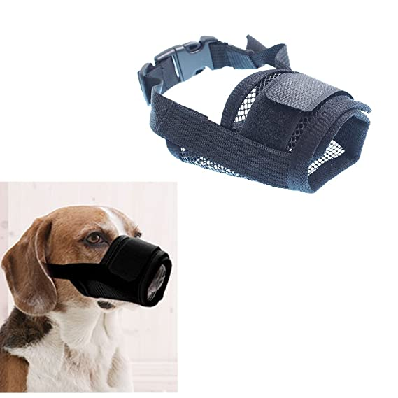RayLineDo/® Dog Mouth Muzzle Breathable Nylon Mesh Adjustable Biting Chewing Prevention Safety Belt Soft Pet Anti Barking Muzzles for Small Medium Large Dogs Size S In Pink