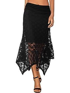 393e9eaef3 Bila Bohemian Handkerchief Hem Maxi Skirt (Navy, Multi Colored) at ...