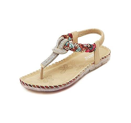 MIUINCY Womens Summer Rhinestone Bead Bohemia Folk Round Dunlop Clip Toe Sandals Boho Beach Flip Flops Flat Elastic...