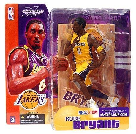 Kobe Bryant #8 Los Angeles Lakes Short Hair NO Sideburns Yellow Jersey Uniform Variant Chase Alternate McFarlane NBA Series 3 Action Figure ()