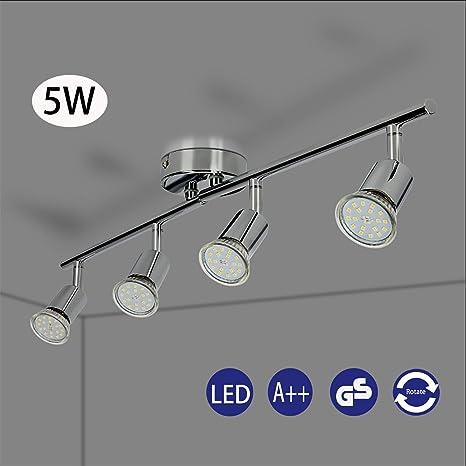 Foco LED para techo Lámpara de techo con focos redondos I incl. 4 x 5 W bombillas LED GU10 lamparas de techo led Luz de techo Plafon Lámpara de salón ...