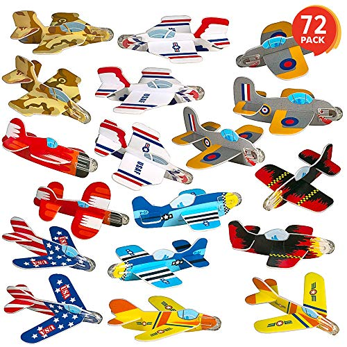 ArtCreativity Foam Gliders for Kids – Bulk Set of 72 – Lightweight Planes with Various Designs – Individually Packed…