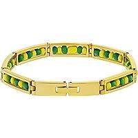In Season Jewelry - Pulsera de acero inoxidable con cuentas amarillas y verdes, protección de amuleto de Babalawo