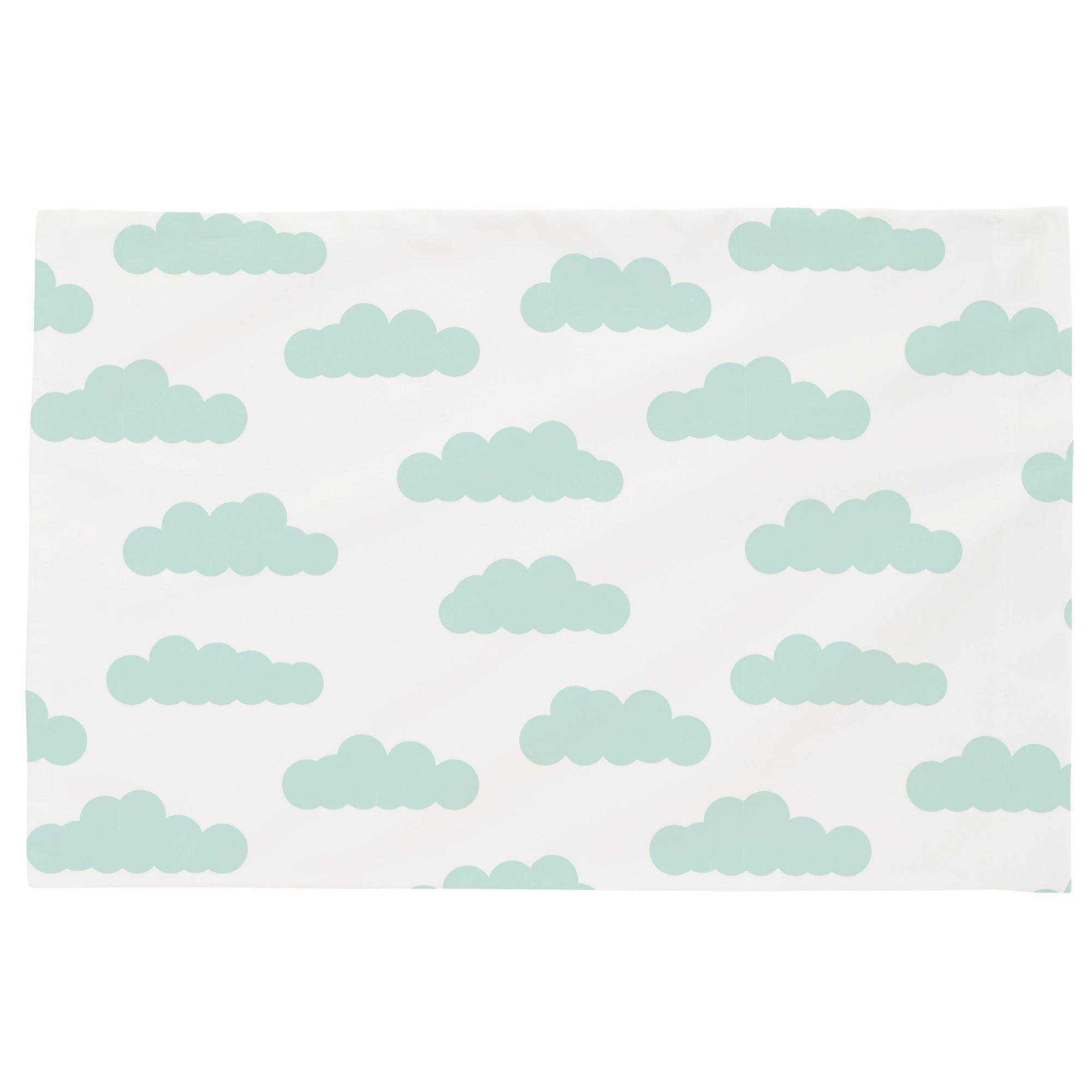 Carousel Designs White and Icy Mint Clouds Toddler Bed Pillow Case