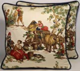 Toile Decorative Throw Pillows 2 18'' Kravet Guinevere Festival Wine Harvest Fabric and Forms