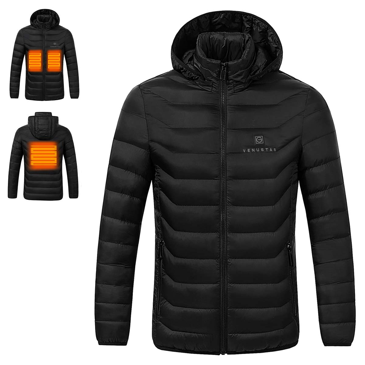 Venustas [2019 Upgrade] Heated Jacket with Battery Pack (Unisex), Heated Coat for Men and Women with Detachable Hood Black by Venustas