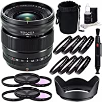 Fujifilm XF 16mm f/1.4 R WR Lens + 67mm 3 Piece Filter Set (UV, CPL, FL) + 67mm +1 +2 +4 +10 Close-Up Macro Filter Set with Pouch Bundle 7