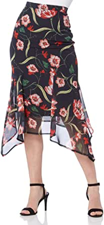 Falda de gasa para mujer, diseño floral, color rojo