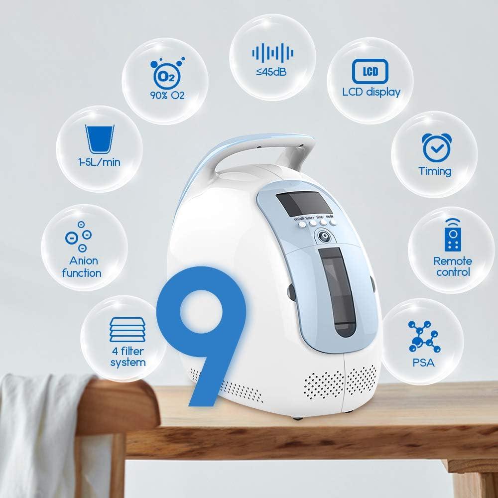 HUKOER Generador de Oxígeno Concentrado Portátil Purificador de Aire para Cuidado Personal (Flujo 1-5L / min Concentración 30-90%)
