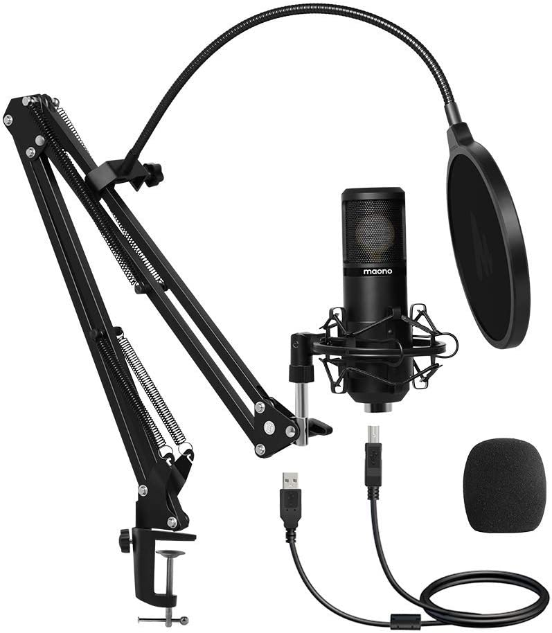 USB Microphone 25mm Large Diaphragm MAONO AU-PM430 Condenser PC Cardioid Mic with Professional Sound Chipset for Studio/Home Recording, Podcast, Gaming, Streaming, YouTube, Chatting