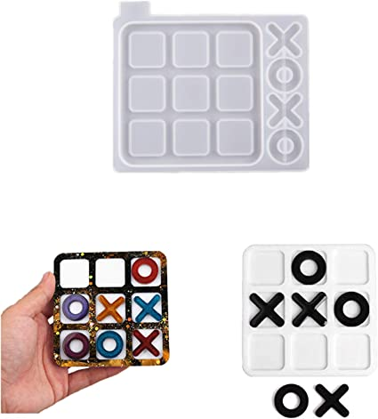 Small Tic Tac Toe Resin Molds Classic Board Games Silicone Casting Molds Table Home Decor for Kids and Adults Family Games Night