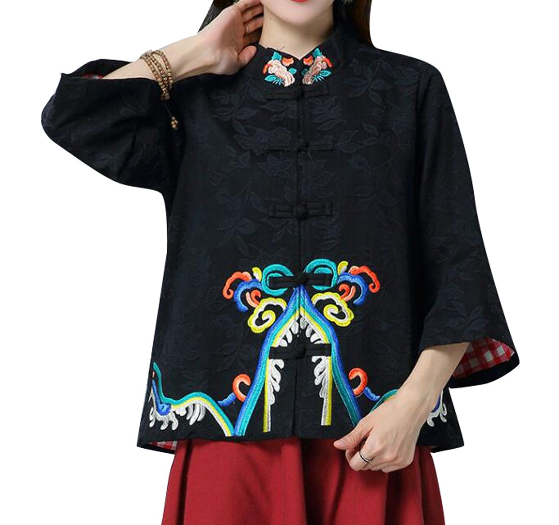 ARTFFEL Womens Vintage Chinese Style 3/4 Sleeve Embroidery Coat Jacket Outerwear Black L