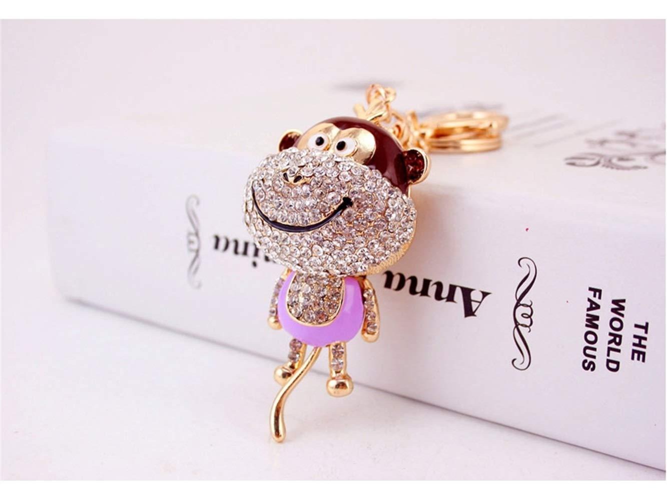 Car Keychain, Cute Diamond Long Tail Monkey Keychain Animal Shape Key Trinket Car Bag Key Holder Decorations(Purple) for Gift