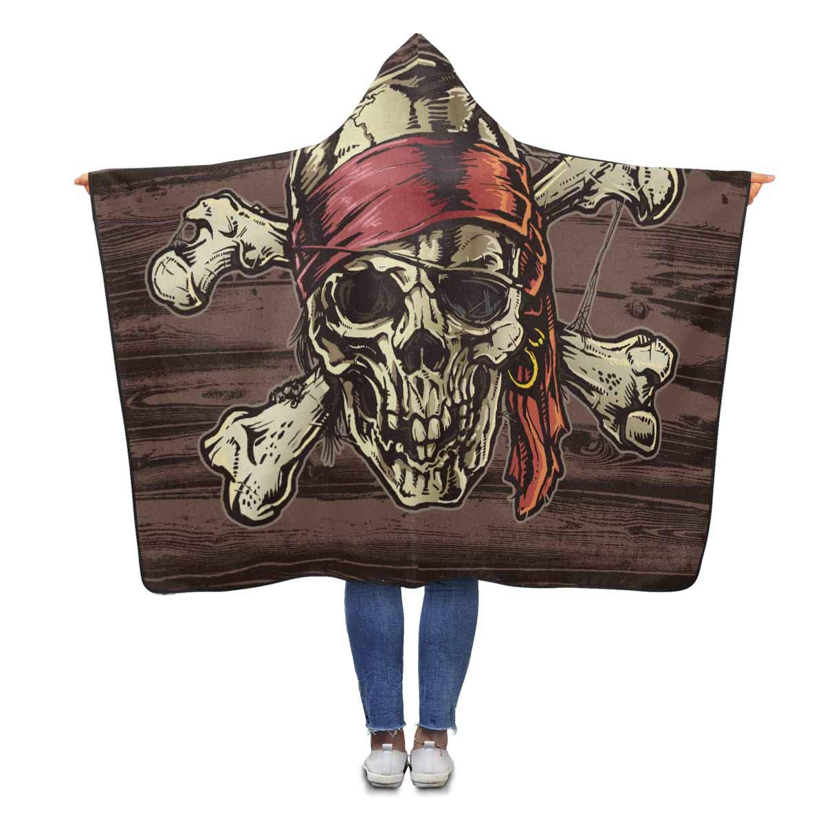 InterestPrint Pirate Skull Bandana Hooded Throw Blanket 80 x 56 inches Adults Blankets Throw Wrap by InterestPrint