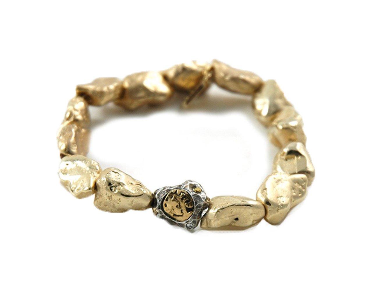Tat2 Designs Women's Vintage Gold Plated Capri Nugget Bracelet