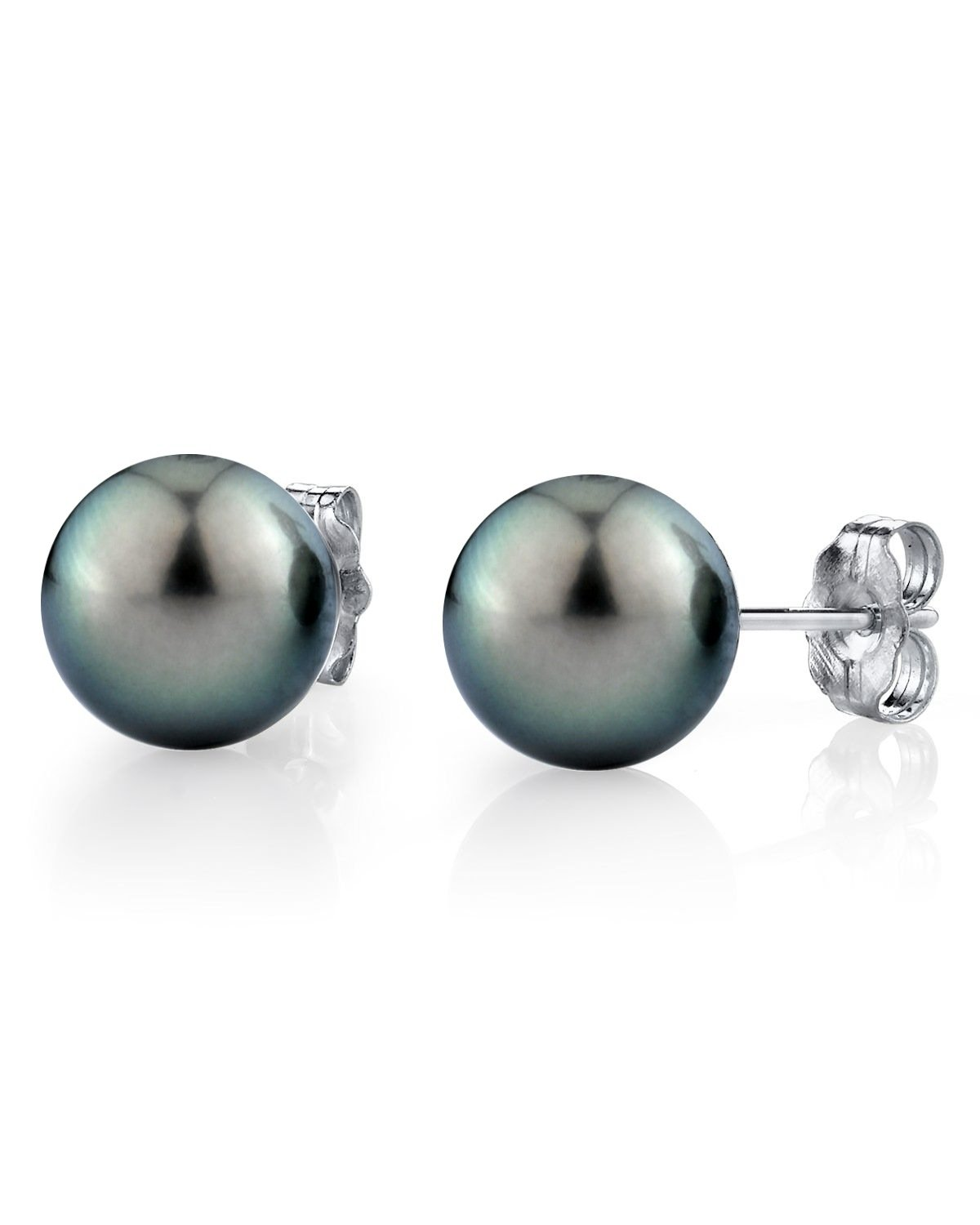 14K Gold 8-9mm Green Tahitian South Sea Cultured Pearl Stud Earrings - AAA Quality