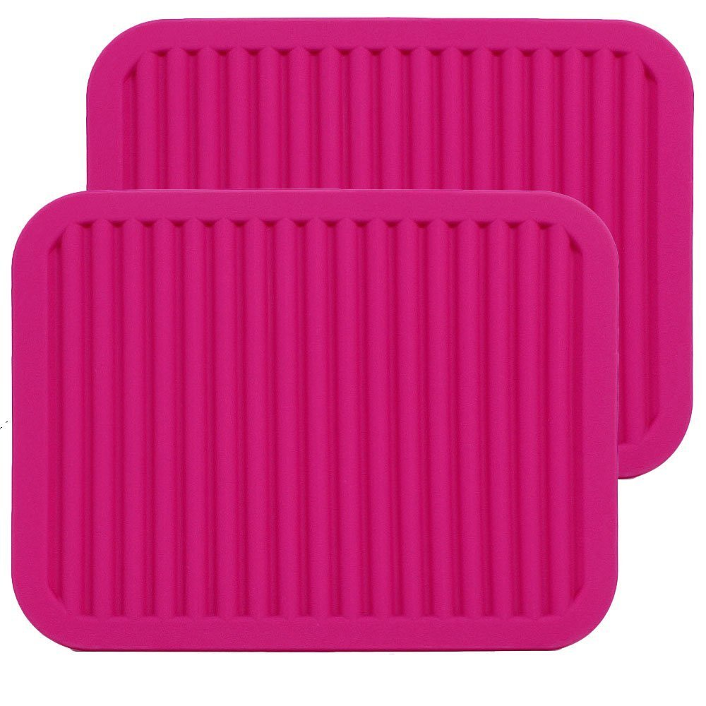 CREATESTAR 9 x 12 Set of 2 Silicone Pot Holder, Heat insulated pad, Trivet Mat, Dish Drying Mat / Draining Board , Baking Gadget Kitchen Table Mat - Waterproof, Non-Slip,Trivet, Tableware Pad Coasters (Orange) ME.FAM