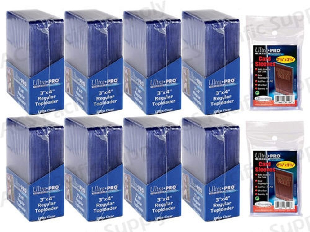 3358f05fe43 Ultra Pro 200 Regular TOPLOADERS Standard + 200 Free Sleeves New Top Load  Lot