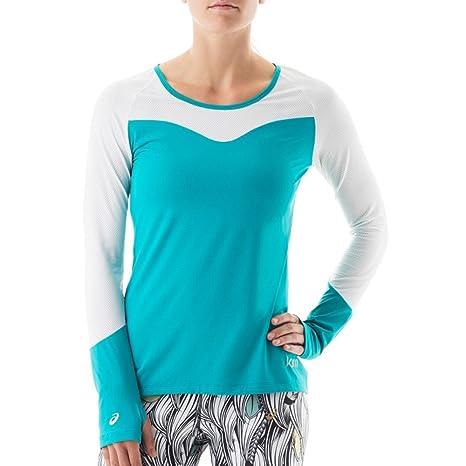 1b3cadbc Asics KW2768 Women's Long Sleeve Training Shirt, Teal/White - L