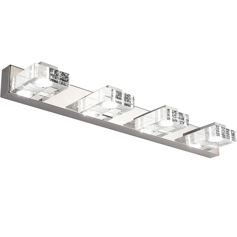 Bathroom Light,SOLFART 4 Lights Modern Glass Stainless Steel Vanity Wall Light Over Mirror Long LED Bathroom Lighting Fixtures