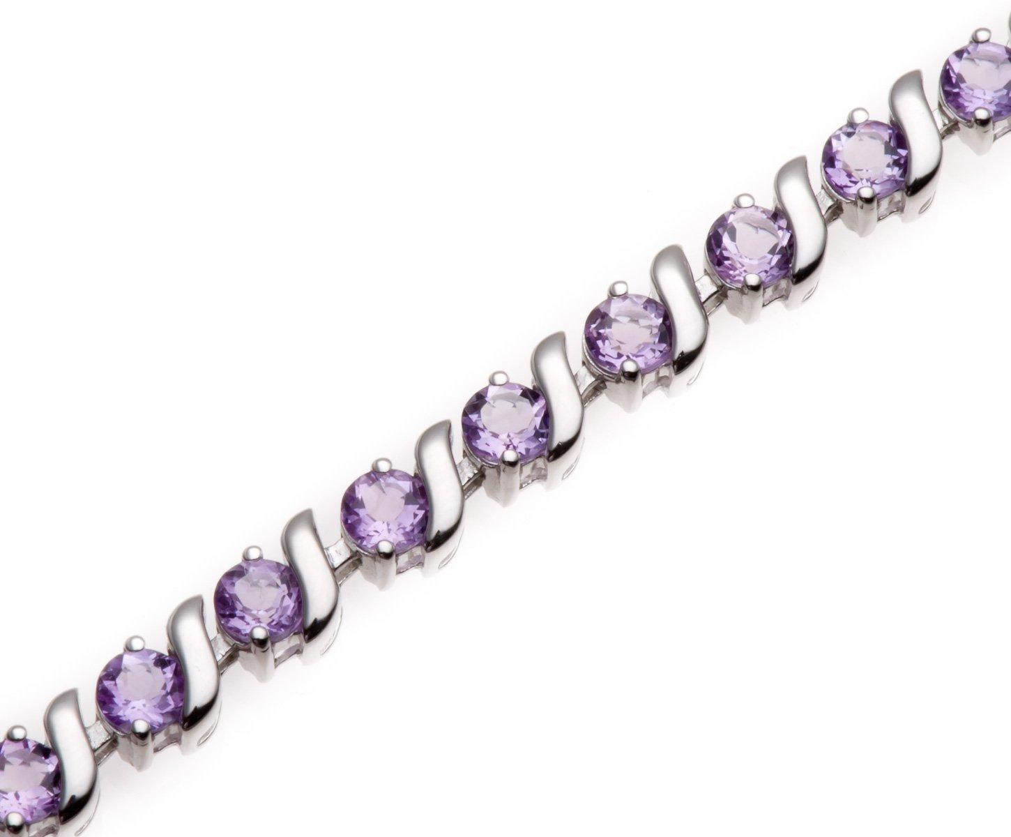Round 4mm Genuine African Amethyst 6.34 Ct Sterling Silver ''S'' Link Bracelet 7.5 Inches