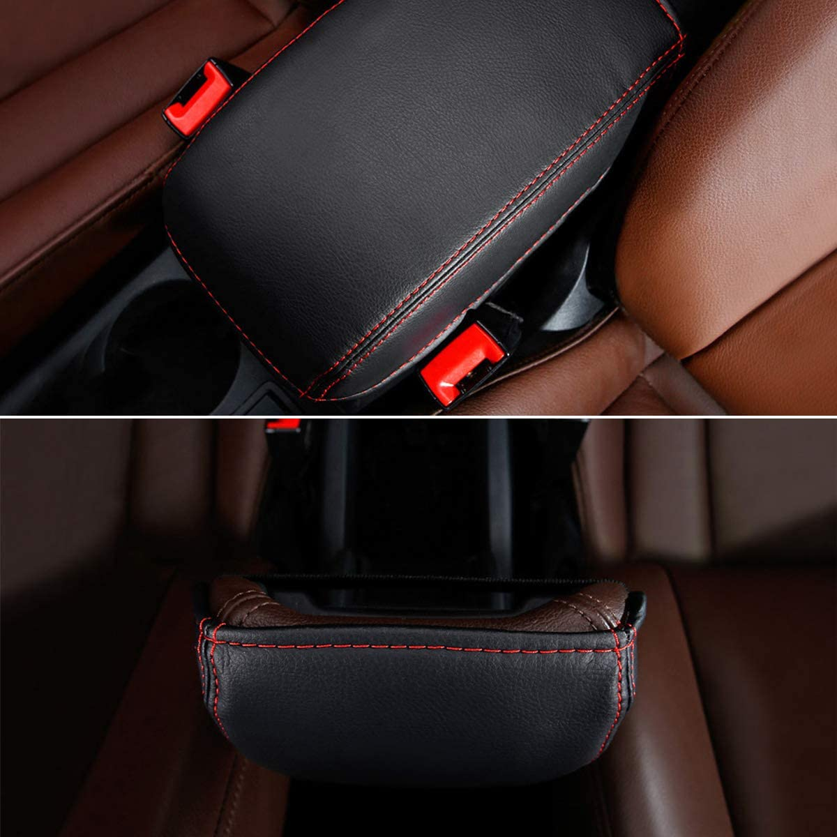 Center Console Armrest Box Pad Console Lid Protection Cover for 2017 A3 Interior Accessories Black Color with Red Stitches Car Armrest Box Cover Saver for 2013-2018 A3