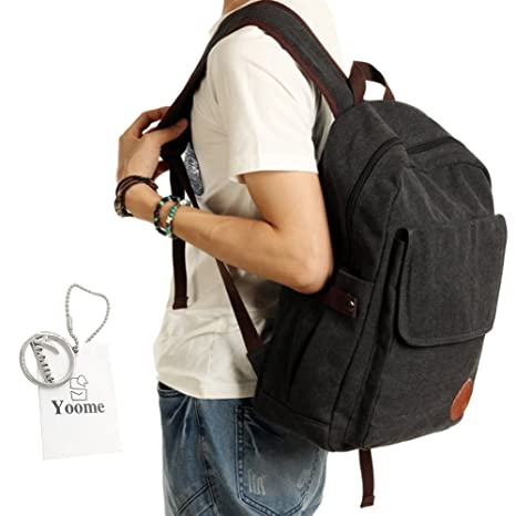 YOOME School Bags Boys High School Retro Canvas Backpack Rucksack 14 Inch Laptop  Travel College Hiking ffe6a80a2f23a
