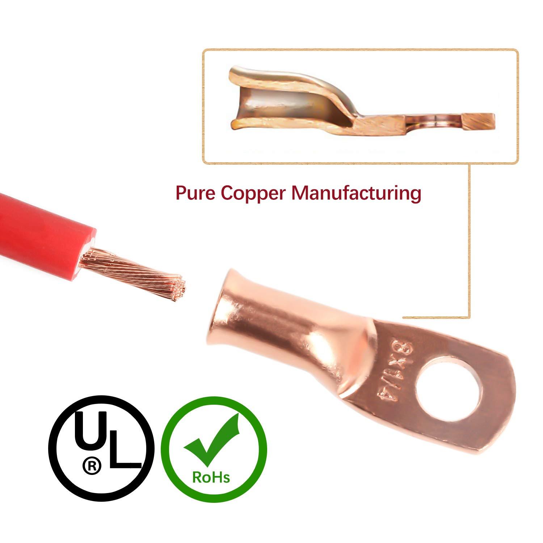 Kupferbatterieanschl/üsse W/ärmschrumpfschlauch ELECTRAPICK Rohrkabelschuhe 40 St/ücke Kupfer Anschlussklemen Quetschverbinder mit 8 Gr/ö/ße
