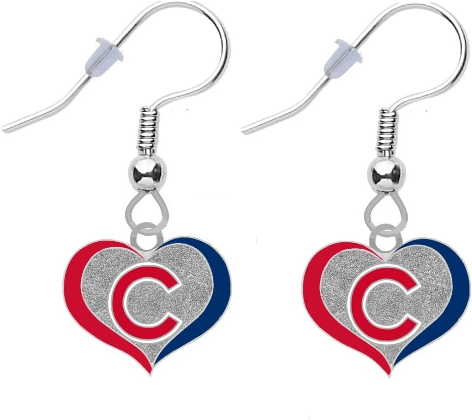 Final Touch Gifts Chicago Cubs C Swirl Heart Earrings