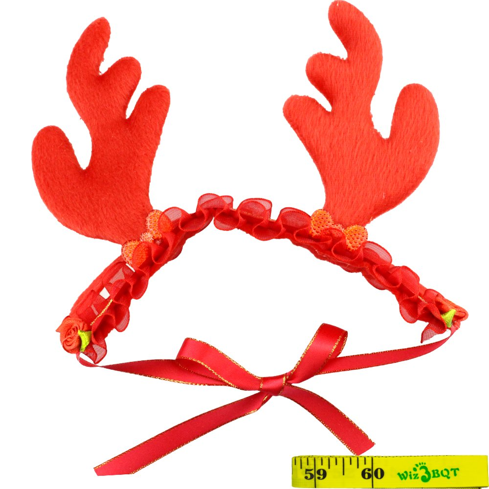 Wiz BBQT 2 Pcs Cat Dog Pet Halloween Devil Horns and Christmas Reindeer Horns Hair Head Bands Accessories in Red for Kitten Puppy Small Dogs Cats Pets