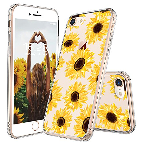 MOSNOVO iPhone 7 Case, iPhone 8 Case, iPhone 7 Case for Women, Floral Flower Sunflower Clear Design Plastic Back Case with TPU Bumper Protective Case Cover for iPhone 7 / iPhone 8