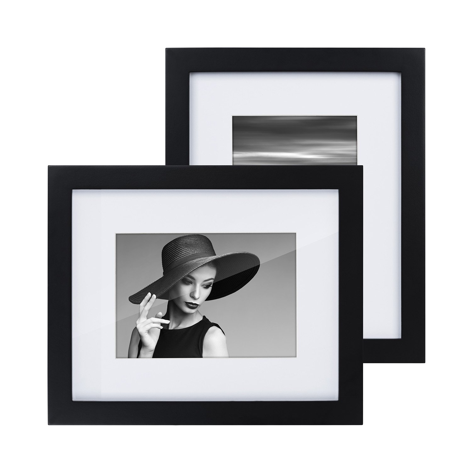 RooLee 2-Pack 8x10 Picture Frame Black Wood Photo Frame for Picture 5x7 with Mat or 8x10 Without Mat - Wall Mount or Tabletop Display