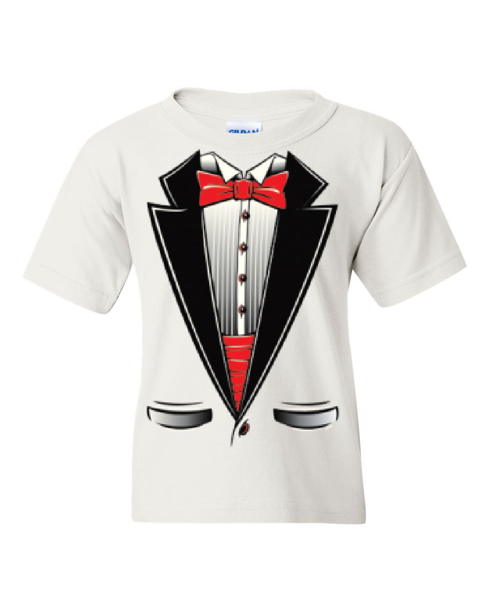 Funny Tuxedo Bow Tie Youth T-Shirt Tux Wedding Party Tee White L