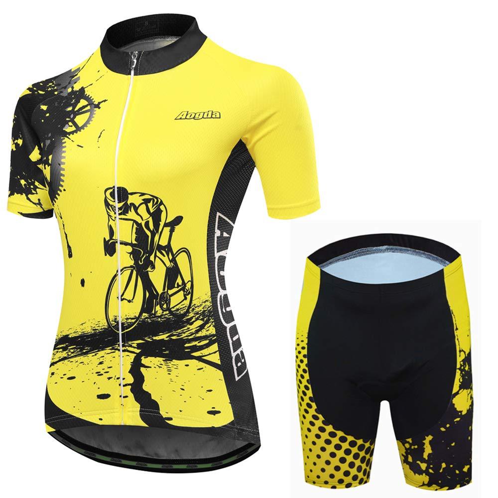 Cycling Jersey Women Aogda Bike Shirts Team Bicycle Jacket Biking Tights Clothing (8 Suit, M) by Cycling Jersey Women