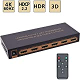 4K/60Hz HDMI Switch 5x1 Awakelion Premium Quality 5 in 1 Out HDMI 2.0 Switcher with IR Remote Support HDMI 2.0, HDCP 2.2,UHD,CEC,HDR,Full HD/3D