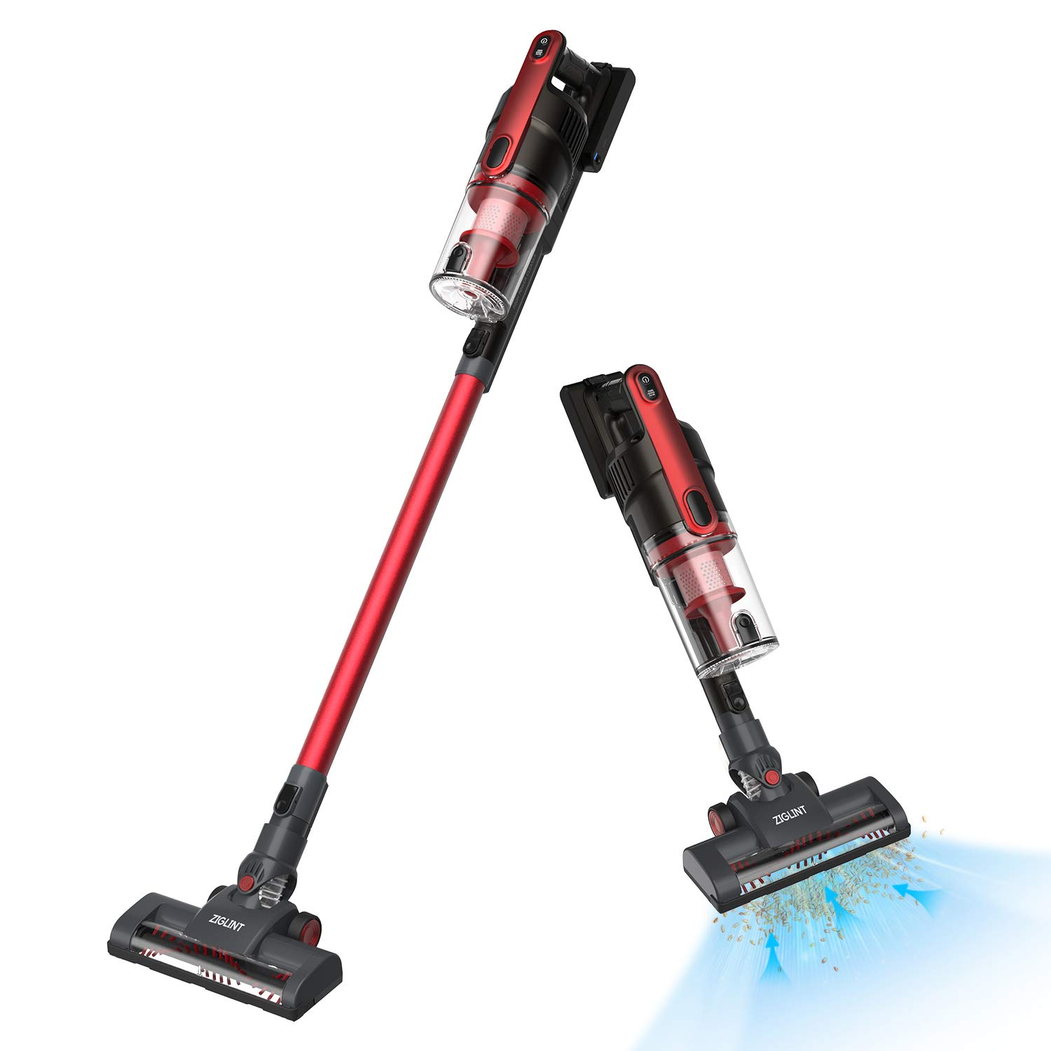 Z5 Ultra Lightweight Cordless Stick Vacuum Cleaner Long Run Time and Powerful Suction for Pet Hair Carpet Hardwood Floor Sofa, with Large Dust Cabin, 180° Rotatable Head, 3 Attachments and Wall Mount