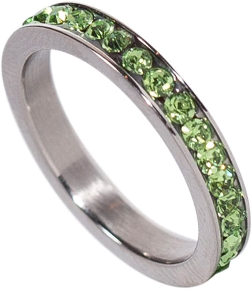 Details about  /Stainless Steel 4 MM Birthstone August Light Green CZ Wedding Band Ring