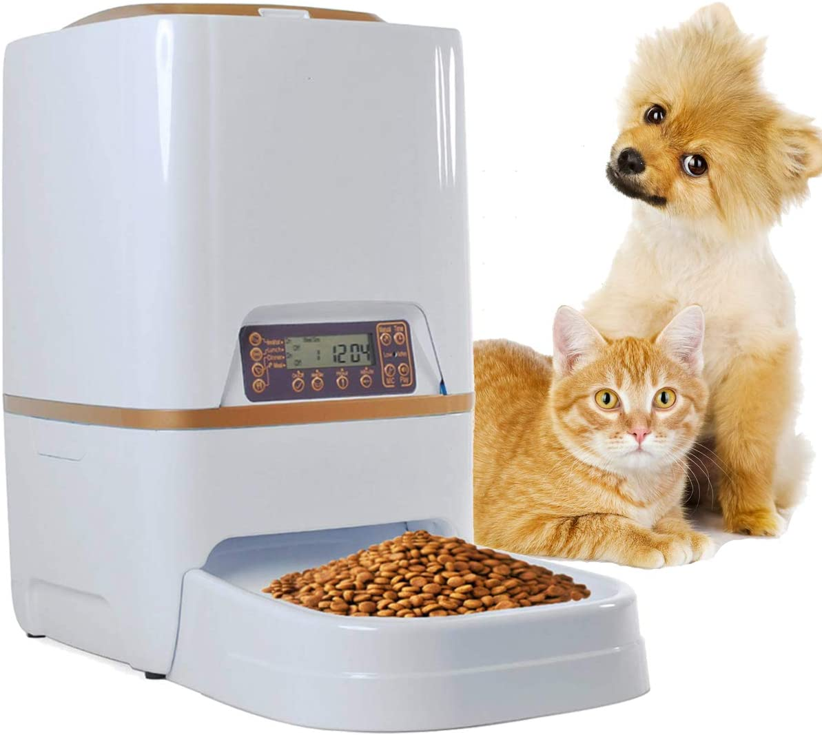 Sailnovo 6L Automatic Pet Feeder Food Dispenser for Dogs, Cats Small Animals Features Distribution Alarms, Portion Control Voice Recording Timer Programmable Up to 4 Meals a Day