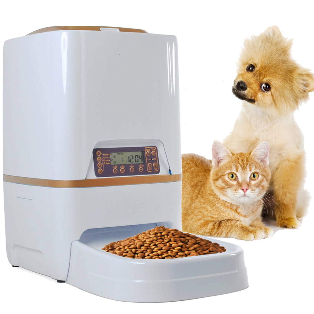 Sailnovo 6L Automatic Pet Feeder Food Dispenser for Dogs, Cats & Small Animals - Features Distribution Alarms, Portion Control & Voice Recording - Timer Programmable Up to 4 Meals a Day by Sailnovo