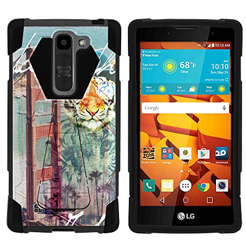 (MINITURTLE Case Compatible w/LG Volt 2 | Shock Impact Hard Rubber Durable Unique Creative Cover, LG Magna Hipster Tiger)