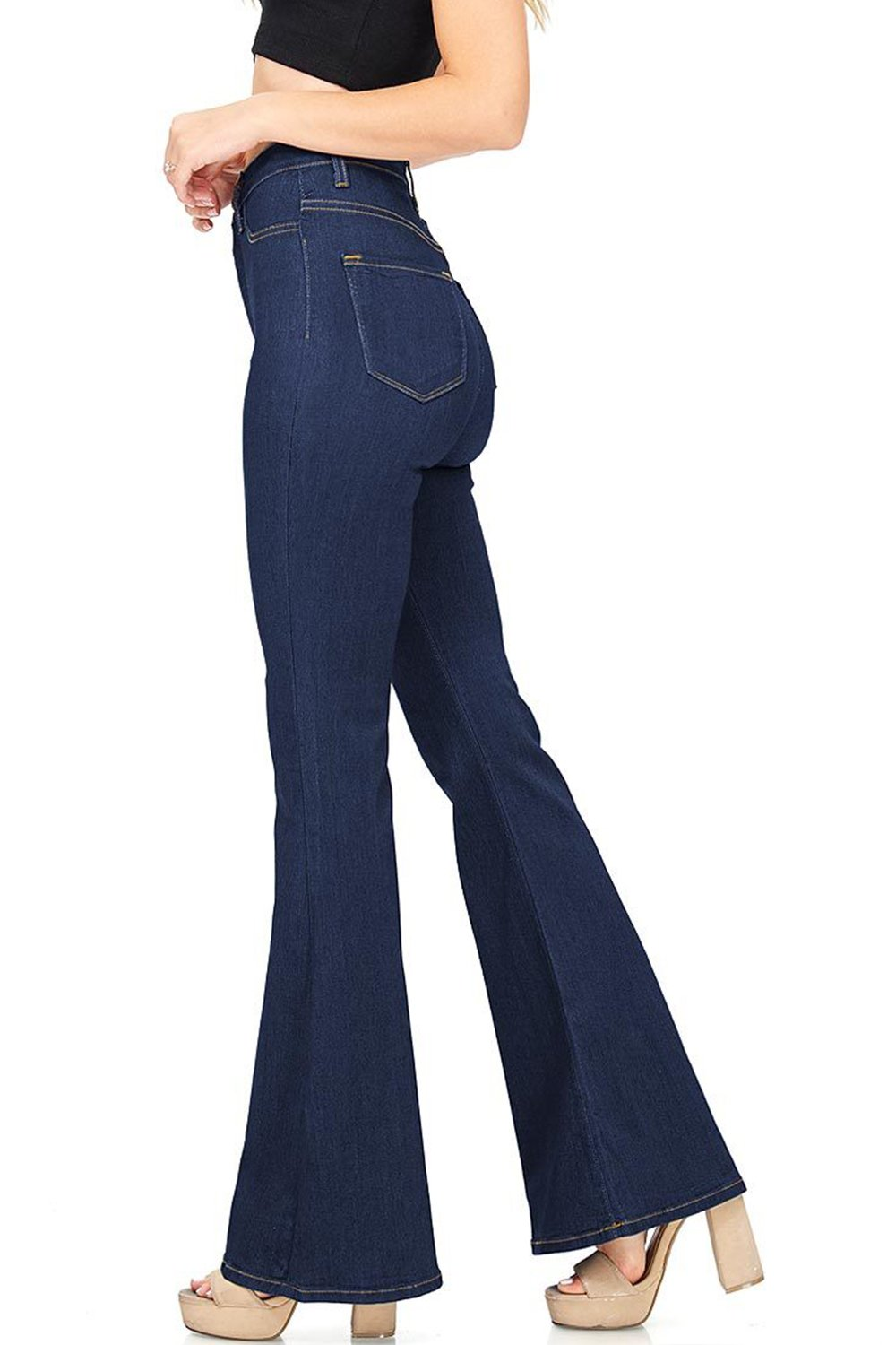 Lueyif Womens Flare High Waisted Bell Bottom Jeans Lounge Plain Fitted Denim Pants,X-Large,Navy