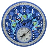 Springfield 12'' Koi Fish Poly Resin Clock with Thermometer